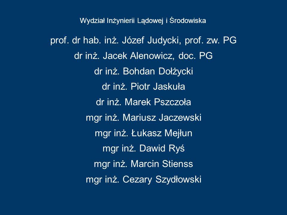 Wydział Inżynierii Lądowej i Środowiska Wydział Chemiczny prof. dr hab. inż. Józef Judycki, prof. zw. PG dr inż. Jacek Alenowicz, doc. PG dr inż. Bohd