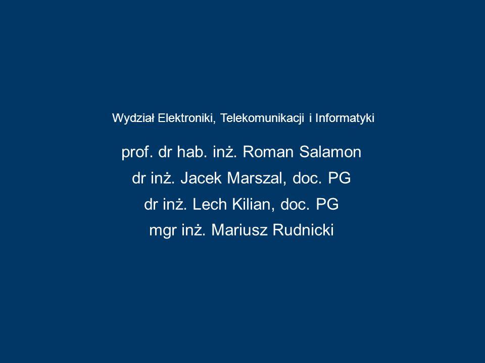 Wydział Elektroniki, Telekomunikacji i Informatyki Wydział Chemiczny prof. dr hab. inż. Roman Salamon dr inż. Jacek Marszal, doc. PG dr inż. Lech Kili