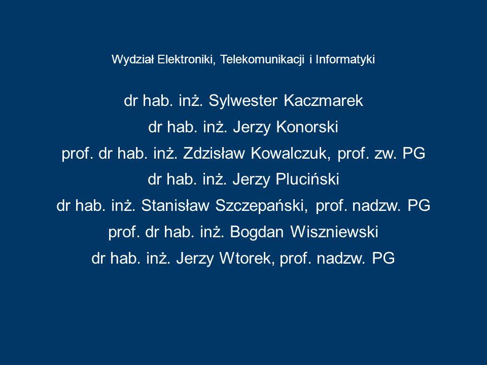 Wydział Elektroniki, Telekomunikacji i Informatyki Wydział Chemiczny dr hab. inż. Sylwester Kaczmarek dr hab. inż. Jerzy Konorski prof. dr hab. inż. Z