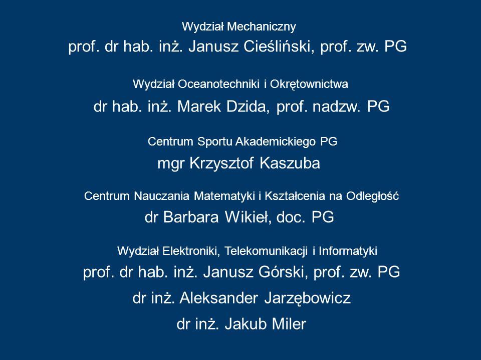 Wydział Mechaniczny Centrum Sportu Akademickiego PG mgr Krzysztof Kaszuba prof. dr hab. inż. Janusz Cieśliński, prof. zw. PG Wydział Oceanotechniki i