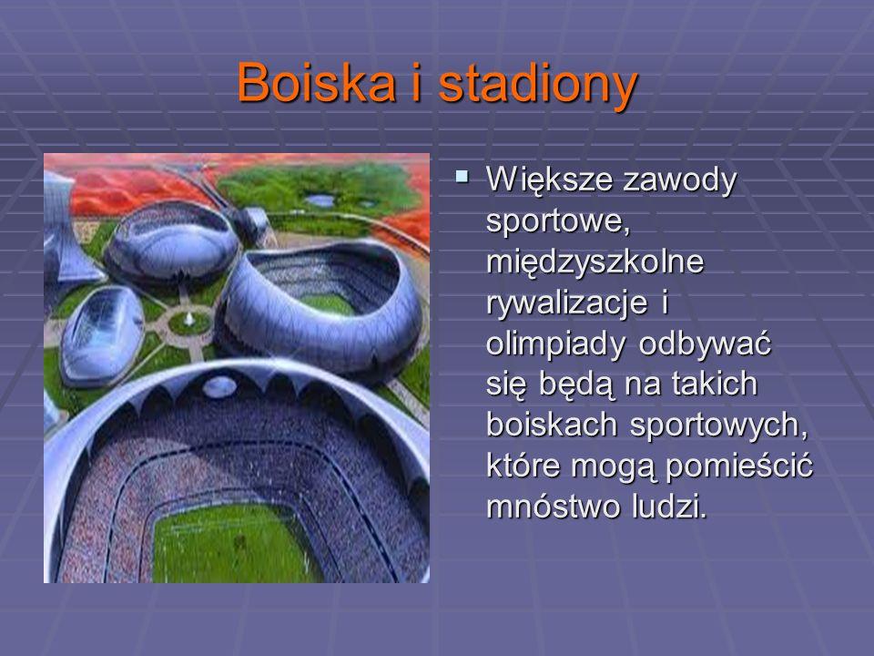 Boiska i stadiony Większe zawody sportowe, międzyszkolne rywalizacje i olimpiady odbywać się będą na takich boiskach sportowych, które mogą pomieścić mnóstwo ludzi.