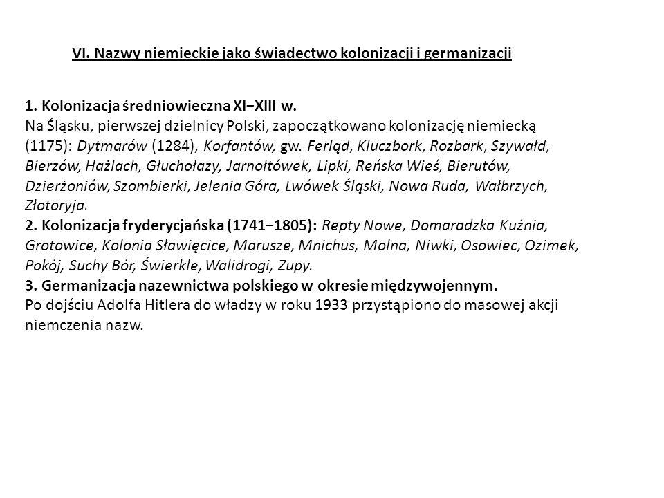 VI.Nazwy niemieckie jako świadectwo kolonizacji i germanizacji 1.