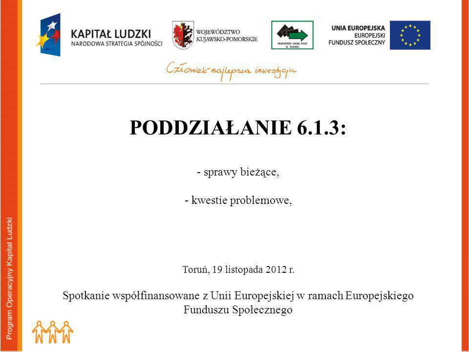 PODDZIAŁANIE 6.1.3: - sprawy bieżące, - kwestie problemowe, Toruń, 19 listopada 2012 r.