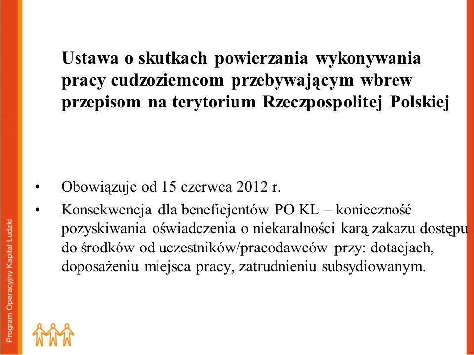 Ustawa o skutkach powierzania wykonywania pracy cudzoziemcom przebywającym wbrew przepisom na terytorium Rzeczpospolitej Polskiej Obowiązuje od 15 czerwca 2012 r.