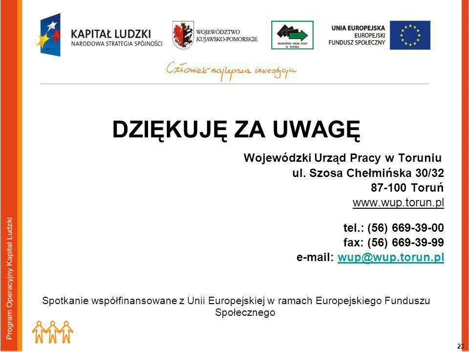 23 DZIĘKUJĘ ZA UWAGĘ Wojewódzki Urząd Pracy w Toruniu ul.