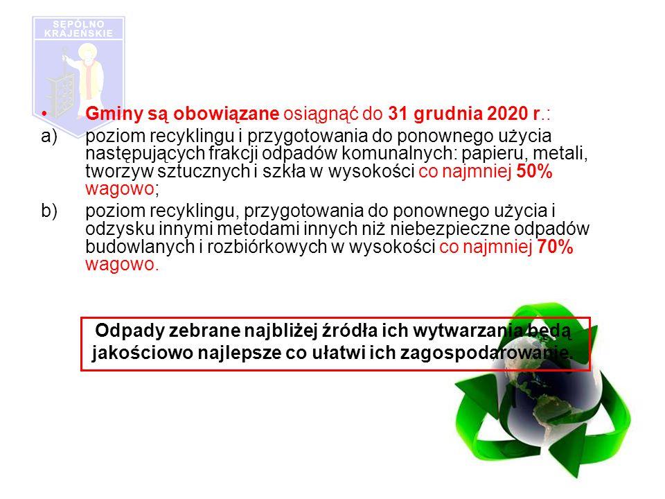 Gminy są obowiązane osiągnąć do 31 grudnia 2020 r.: a)poziom recyklingu i przygotowania do ponownego użycia następujących frakcji odpadów komunalnych: papieru, metali, tworzyw sztucznych i szkła w wysokości co najmniej 50% wagowo; b)poziom recyklingu, przygotowania do ponownego użycia i odzysku innymi metodami innych niż niebezpieczne odpadów budowlanych i rozbiórkowych w wysokości co najmniej 70% wagowo.