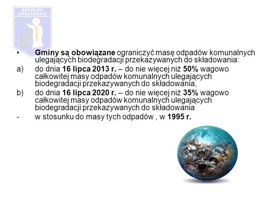 Gminy są obowiązane ograniczyć masę odpadów komunalnych ulegających biodegradacji przekazywanych do składowania: a)do dnia 16 lipca 2013 r.