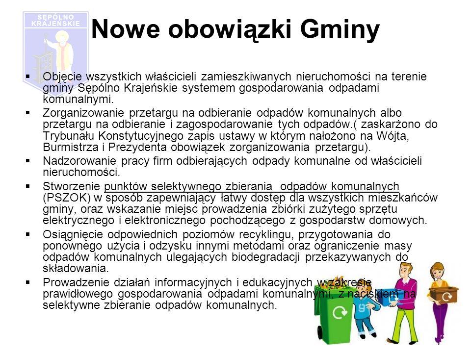 Nowe obowiązki Gminy Objęcie wszystkich właścicieli zamieszkiwanych nieruchomości na terenie gminy Sępólno Krajeńskie systemem gospodarowania odpadami komunalnymi.