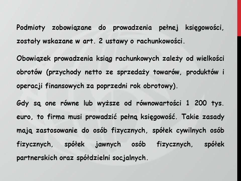 Podmioty zobowiązane do prowadzenia pełnej księgowości, zostały wskazane w art. 2 ustawy o rachunkowości. Obowiązek prowadzenia ksiąg rachunkowych zal