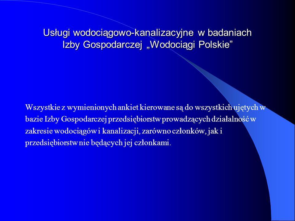 Usługi wodociągowo-kanalizacyjne w badaniach Izby Gospodarczej Wodociągi Polskie Wszystkie z wymienionych ankiet kierowane są do wszystkich ujętych w