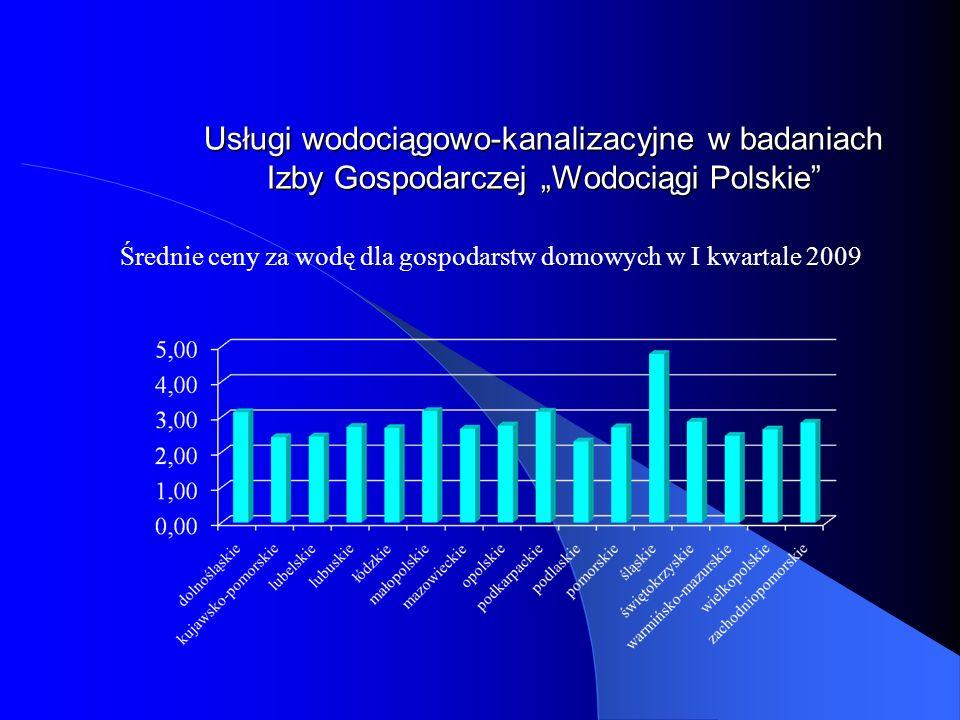 Usługi wodociągowo-kanalizacyjne w badaniach Izby Gospodarczej Wodociągi Polskie Średnie ceny za wodę dla gospodarstw domowych w I kwartale 2009