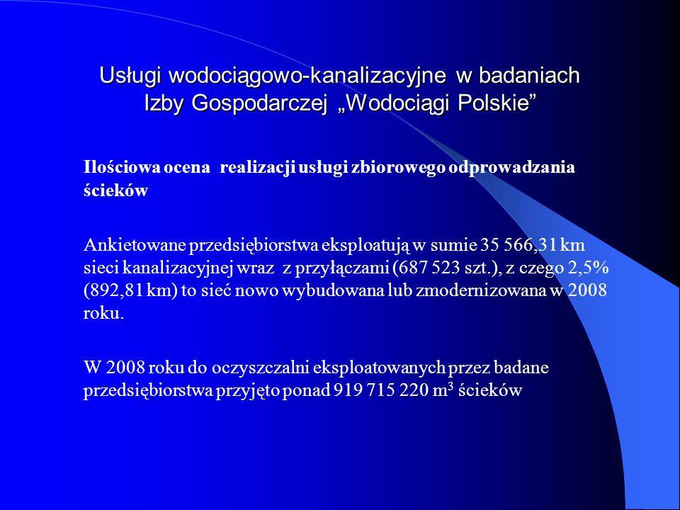 Usługi wodociągowo-kanalizacyjne w badaniach Izby Gospodarczej Wodociągi Polskie Ilościowa ocena realizacji usługi zbiorowego odprowadzania ścieków An