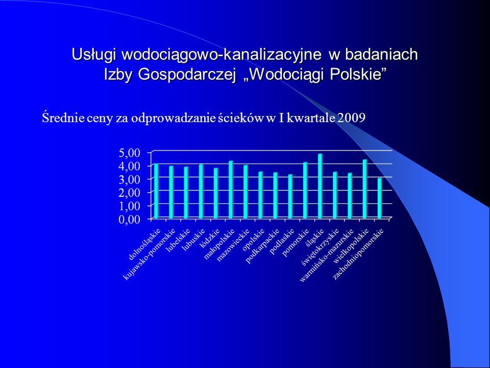 Usługi wodociągowo-kanalizacyjne w badaniach Izby Gospodarczej Wodociągi Polskie Średnie ceny za odprowadzanie ścieków w I kwartale 2009