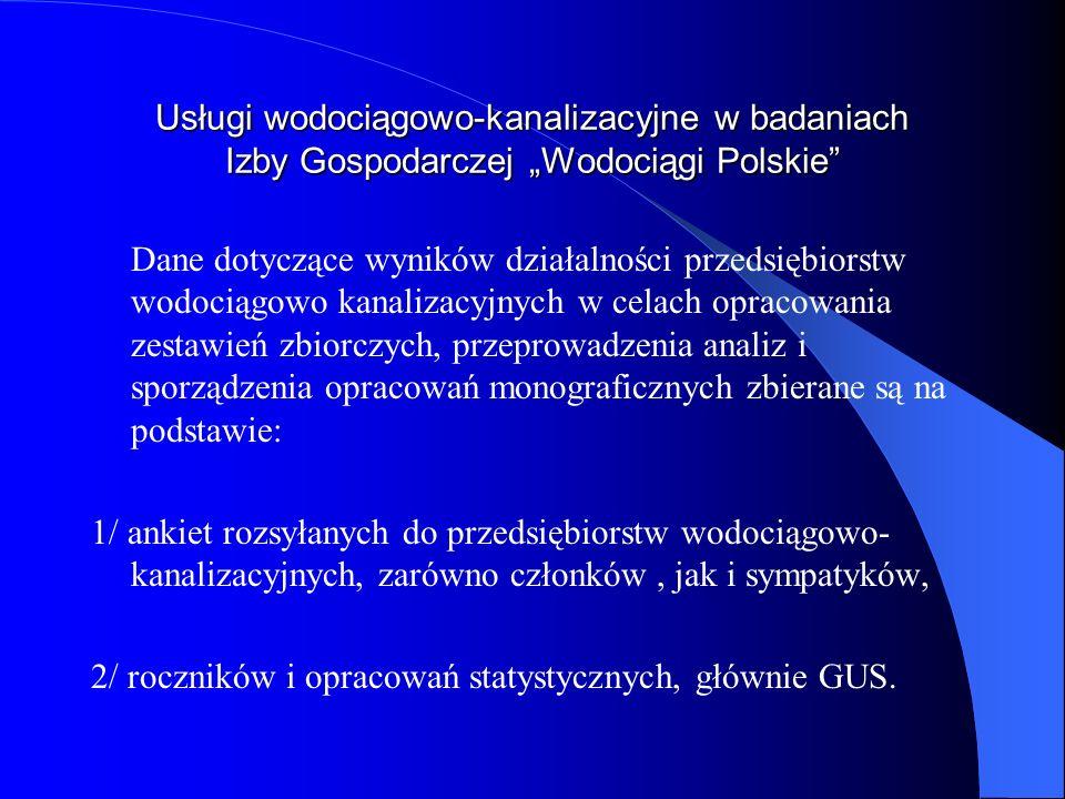 Usługi wodociągowo-kanalizacyjne w badaniach Izby Gospodarczej Wodociągi Polskie Dane dotyczące wyników działalności przedsiębiorstw wodociągowo kanal