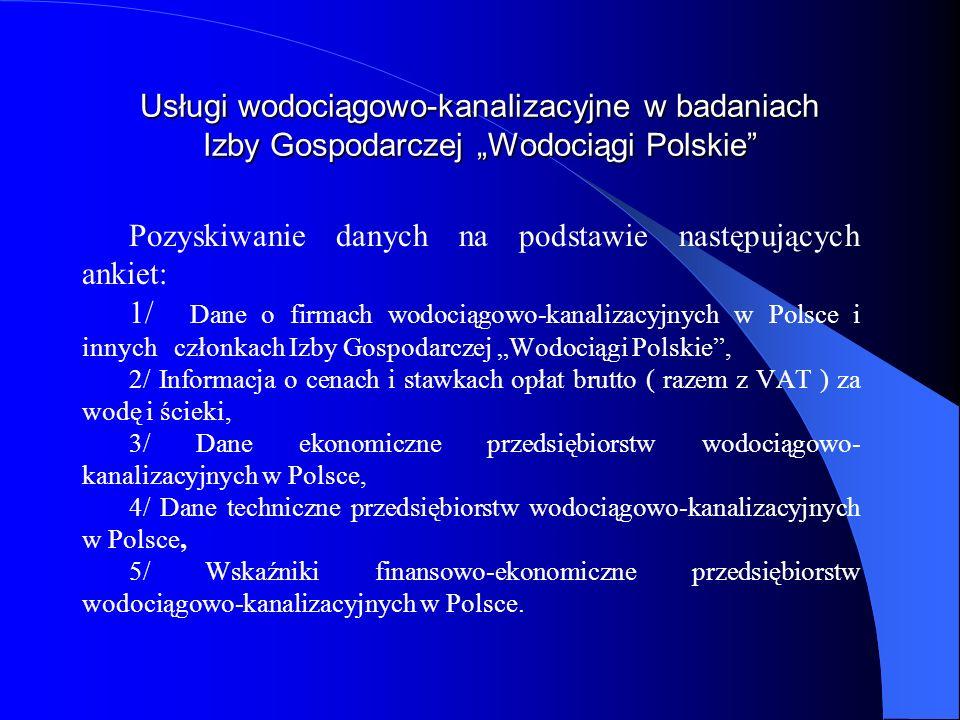 Usługi wodociągowo-kanalizacyjne w badaniach Izby Gospodarczej Wodociągi Polskie Pozyskiwanie danych na podstawie następujących ankiet: 1/ Dane o firm