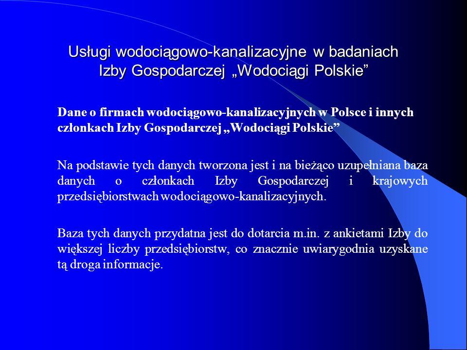 Usługi wodociągowo-kanalizacyjne w badaniach Izby Gospodarczej Wodociągi Polskie Dane o firmach wodociągowo-kanalizacyjnych w Polsce i innych członkac
