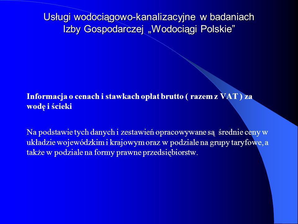 Usługi wodociągowo-kanalizacyjne w badaniach Izby Gospodarczej Wodociągi Polskie Informacja o cenach i stawkach opłat brutto ( razem z VAT ) za wodę i