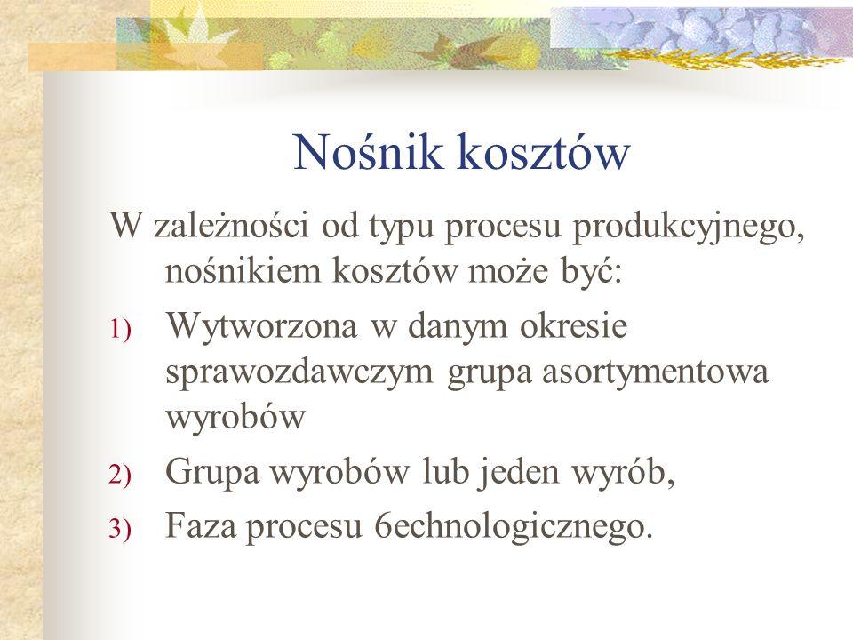 Nośnik kosztów W zależności od typu procesu produkcyjnego, nośnikiem kosztów może być: 1) Wytworzona w danym okresie sprawozdawczym grupa asortymentow