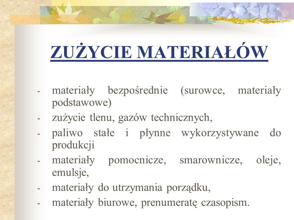ZUŻYCIE MATERIAŁÓW - materiały bezpośrednie (surowce, materiały podstawowe) - zużycie tlenu, gazów technicznych, - paliwo stałe i płynne wykorzystywan