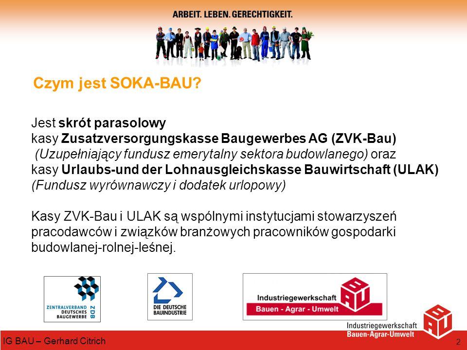 2 IG BAU – Gerhard Citrich Czym jest SOKA-BAU? Jest skrót parasolowy kasy Zusatzversorgungskasse Baugewerbes AG (ZVK-Bau) (Uzupełniający fundusz emery