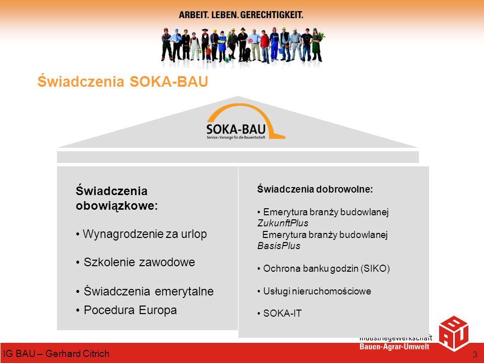 3 IG BAU – Gerhard Citrich Świadczenia SOKA-BAU Świadczenia obowiązkowe: Wynagrodzenie za urlop Szkolenie zawodowe Świadczenia emerytalne Pocedura Eur