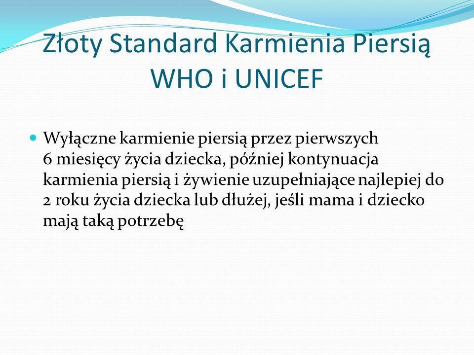 Złoty Standard Karmienia Piersią WHO i UNICEF Wyłączne karmienie piersią przez pierwszych 6 miesięcy życia dziecka, później kontynuacja karmienia pier