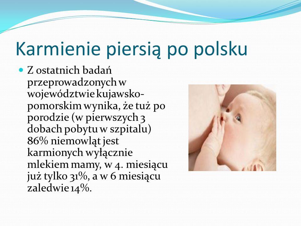 Karmienie piersią po polsku Z ostatnich badań przeprowadzonych w województwie kujawsko- pomorskim wynika, że tuż po porodzie (w pierwszych 3 dobach po