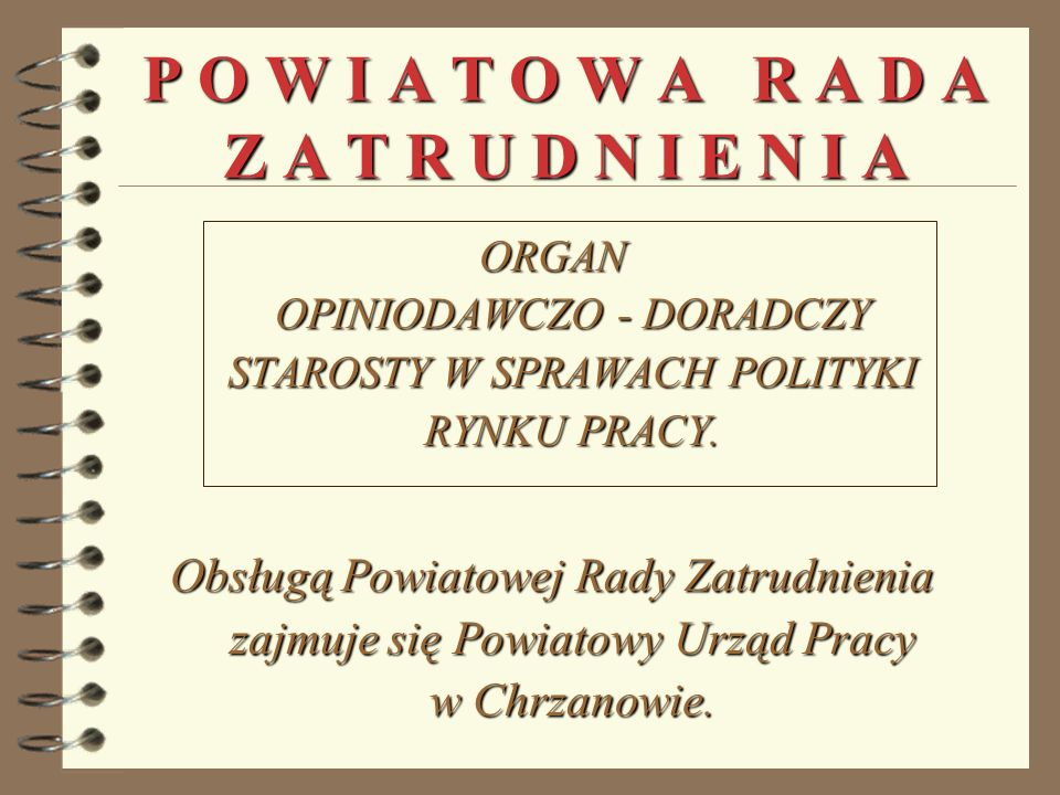 P O W I A T O W A R A D A Z A T R U D N I E N I A ORGAN OPINIODAWCZO - DORADCZY STAROSTY W SPRAWACH POLITYKI RYNKU PRACY.
