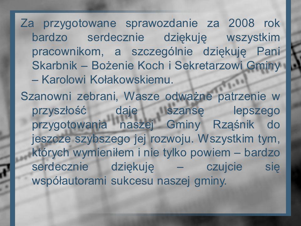 Za przygotowane sprawozdanie za 2008 rok bardzo serdecznie dziękuję wszystkim pracownikom, a szczególnie dziękuję Pani Skarbnik – Bożenie Koch i Sekre