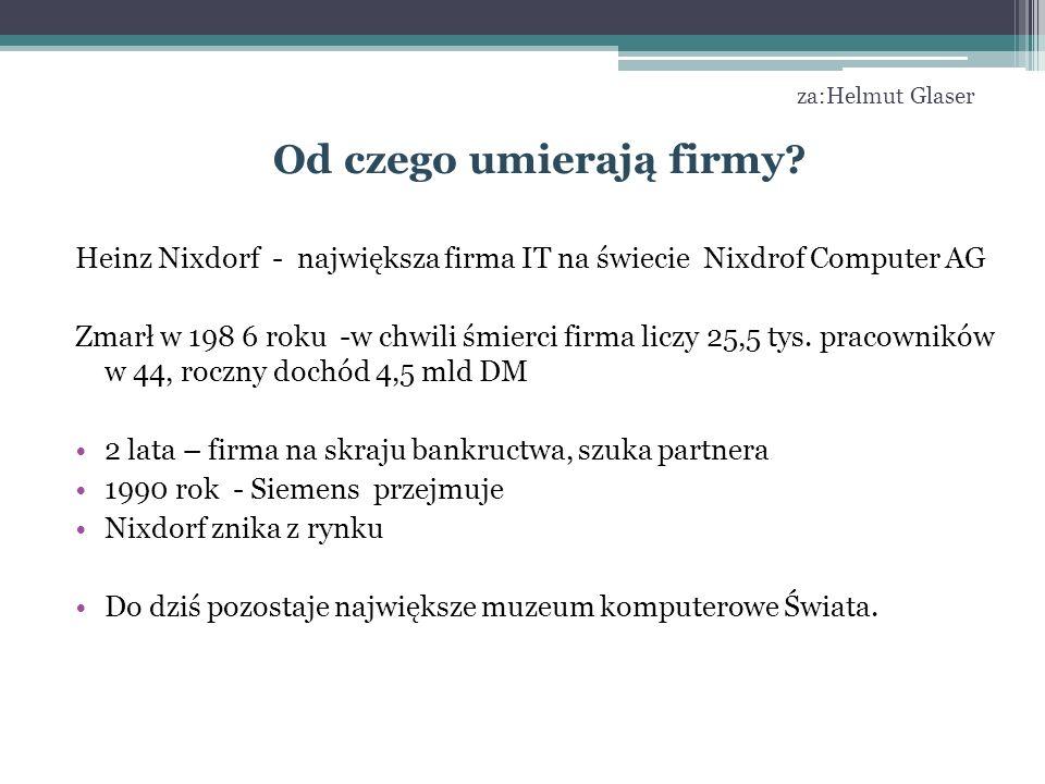 za:Helmut Glaser Od czego umierają firmy? Heinz Nixdorf - największa firma IT na świecie Nixdrof Computer AG Zmarł w 198 6 roku -w chwili śmierci firm