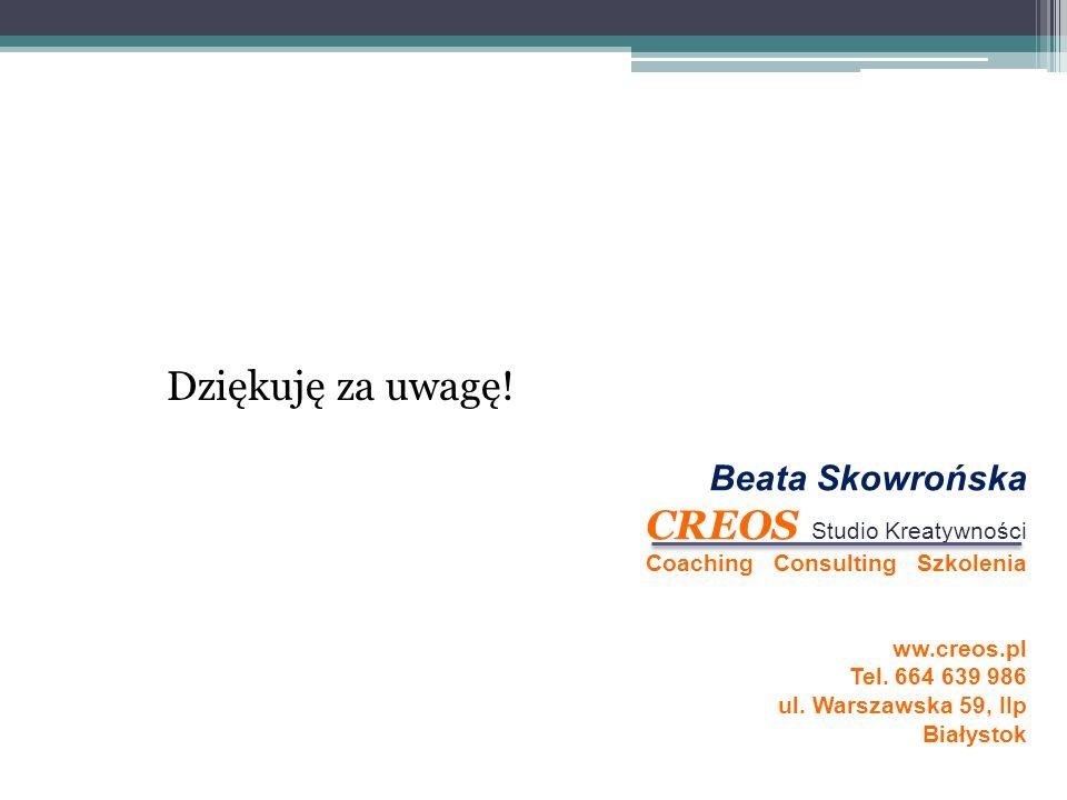 Dziękuję za uwagę! Beata Skowrońska CREOS Studio Kreatywności Coaching Consulting Szkolenia ww.creos.pl Tel. 664 639 986 ul. Warszawska 59, IIp Białys