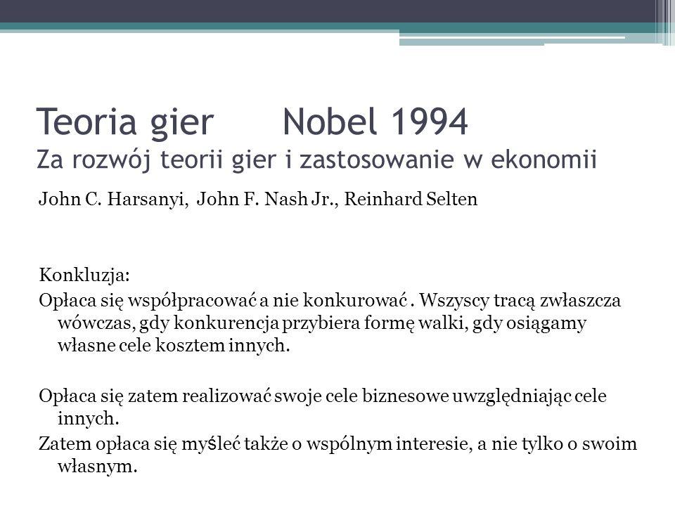Teoria gier Nobel 1994 Za rozwój teorii gier i zastosowanie w ekonomii John C. Harsanyi, John F. Nash Jr., Reinhard Selten Konkluzja: Opłaca się współ