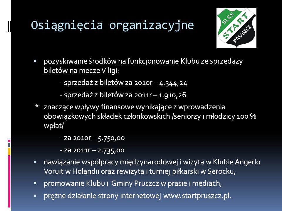 Osiągnięcia organizacyjne pozyskiwanie środków na funkcjonowanie Klubu ze sprzedaży biletów na mecze V ligi: - sprzedaż z biletów za 2010r – 4.344,24