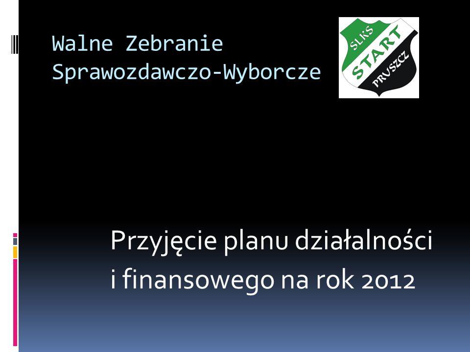 Walne Zebranie Sprawozdawczo-Wyborcze Przyjęcie planu działalności i finansowego na rok 2012