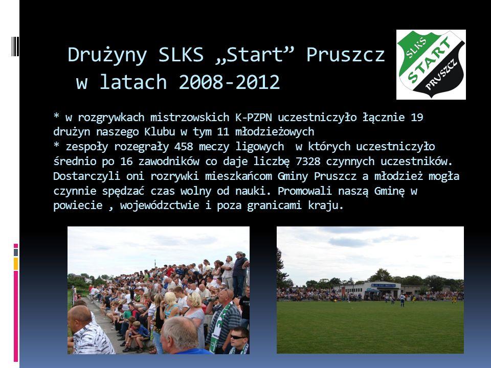 Drużyny SLKS Start Pruszcz w latach 2008-2012 * w rozgrywkach mistrzowskich K-PZPN uczestniczyło łącznie 19 drużyn naszego Klubu w tym 11 młodzieżowyc