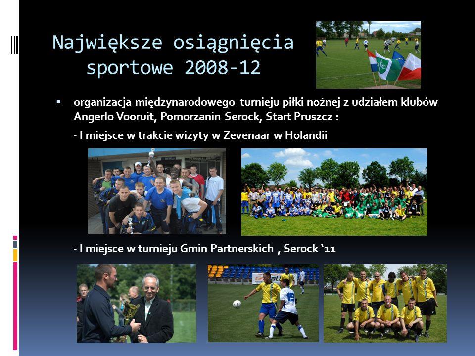 Największe osiągnięcia sportowe 2008-12 organizacja międzynarodowego turnieju piłki nożnej z udziałem klubów Angerlo Vooruit, Pomorzanin Serock, Start