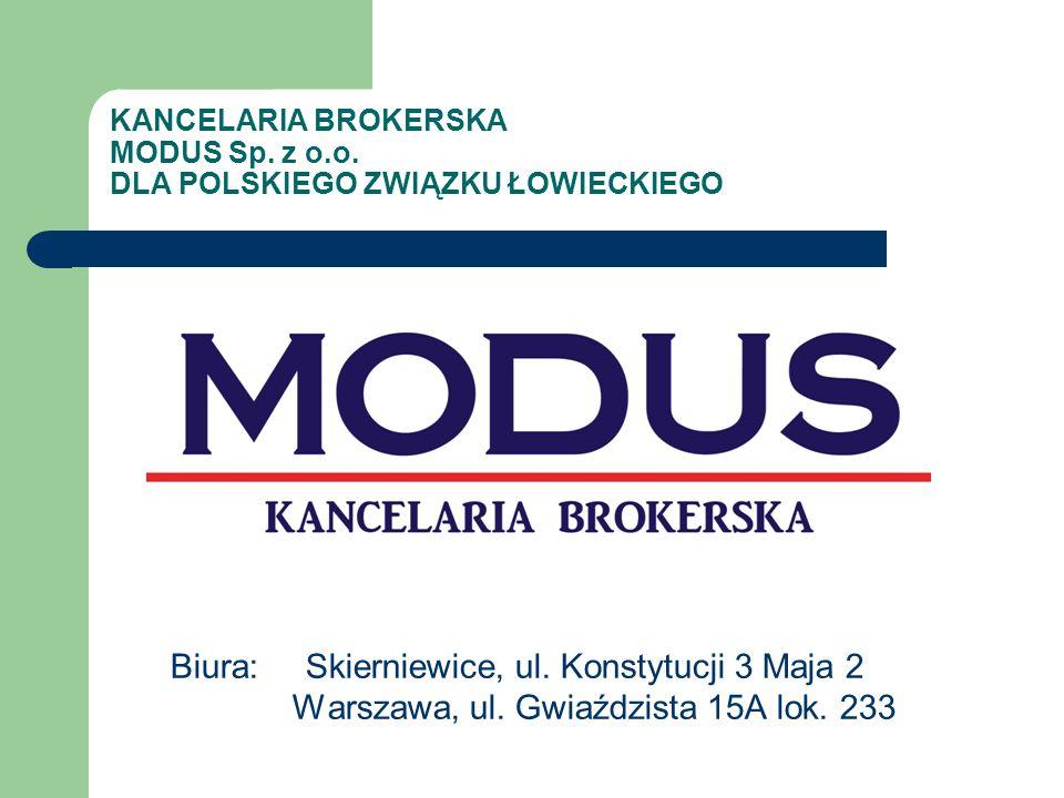 KANCELARIA BROKERSKA MODUS Sp.z o.o. DLA POLSKIEGO ZWIĄZKU ŁOWIECKIEGO Biura: Skierniewice, ul.