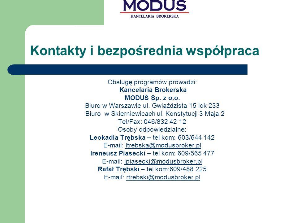Kontakty i bezpośrednia współpraca Obsługę programów prowadzi: Kancelaria Brokerska MODUS Sp.