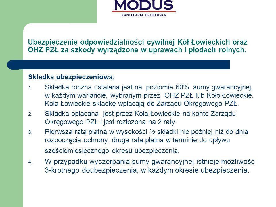 Ubezpieczenie odpowiedzialności cywilnej Kół Łowieckich oraz OHZ PZŁ za szkody wyrządzone w uprawach i płodach rolnych.