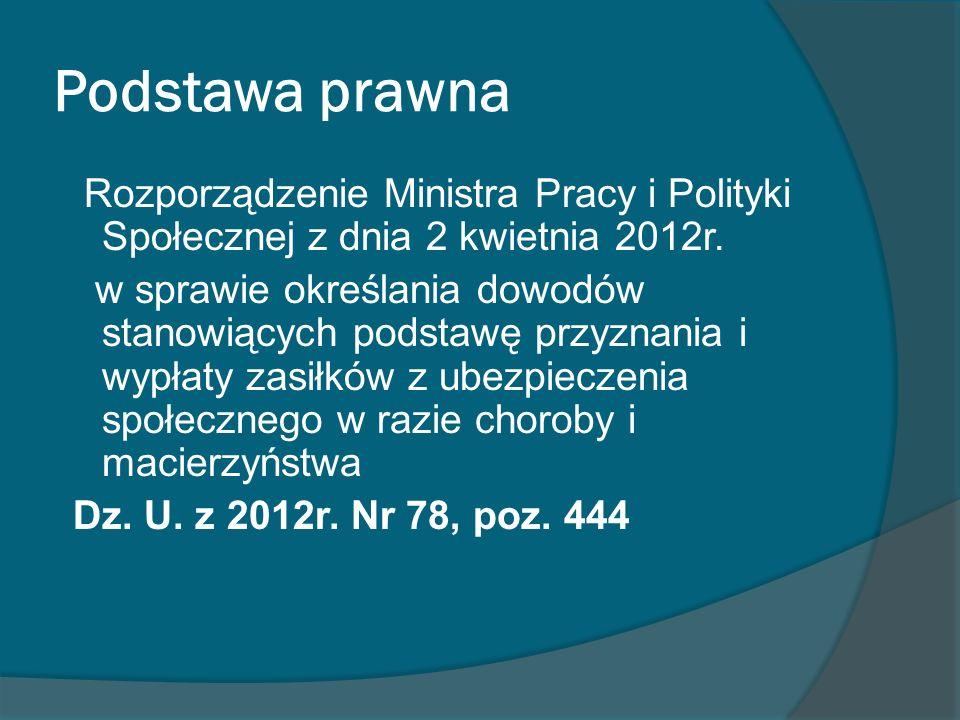 Podstawa prawna Rozporządzenie Ministra Pracy i Polityki Społecznej z dnia 2 kwietnia 2012r. w sprawie określania dowodów stanowiących podstawę przyzn
