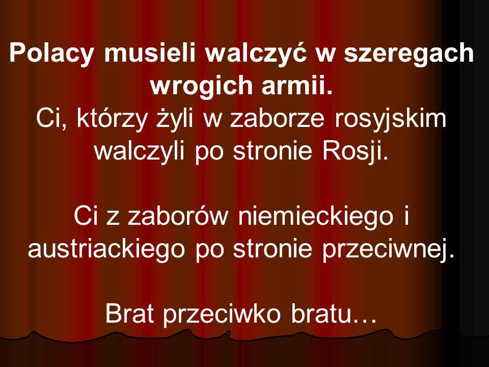 Polacy musieli walczyć w szeregach wrogich armii. Ci, którzy żyli w zaborze rosyjskim walczyli po stronie Rosji. Ci z zaborów niemieckiego i austriack