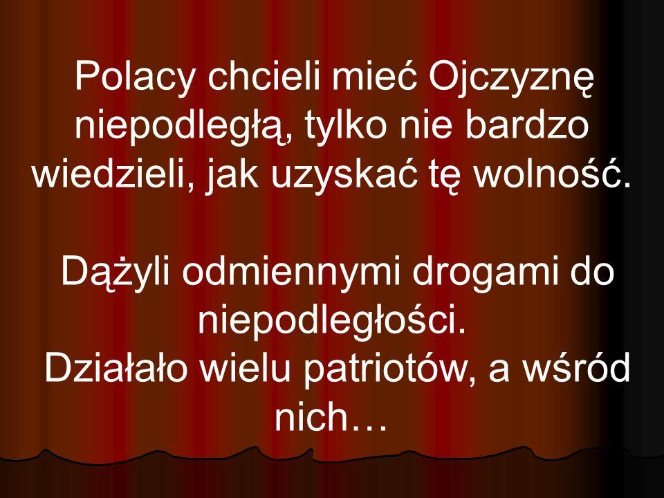 Polacy chcieli mieć Ojczyznę niepodległą, tylko nie bardzo wiedzieli, jak uzyskać tę wolność. Dążyli odmiennymi drogami do niepodległości. Działało wi