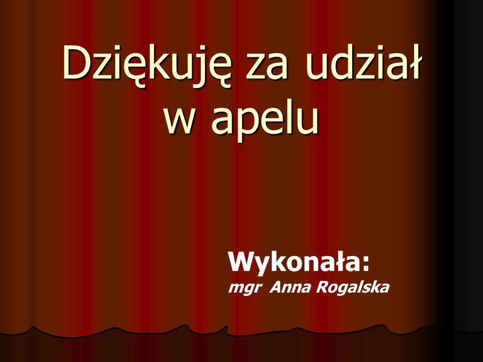 Dziękuję za udział w apelu Wykonała: mgr Anna Rogalska