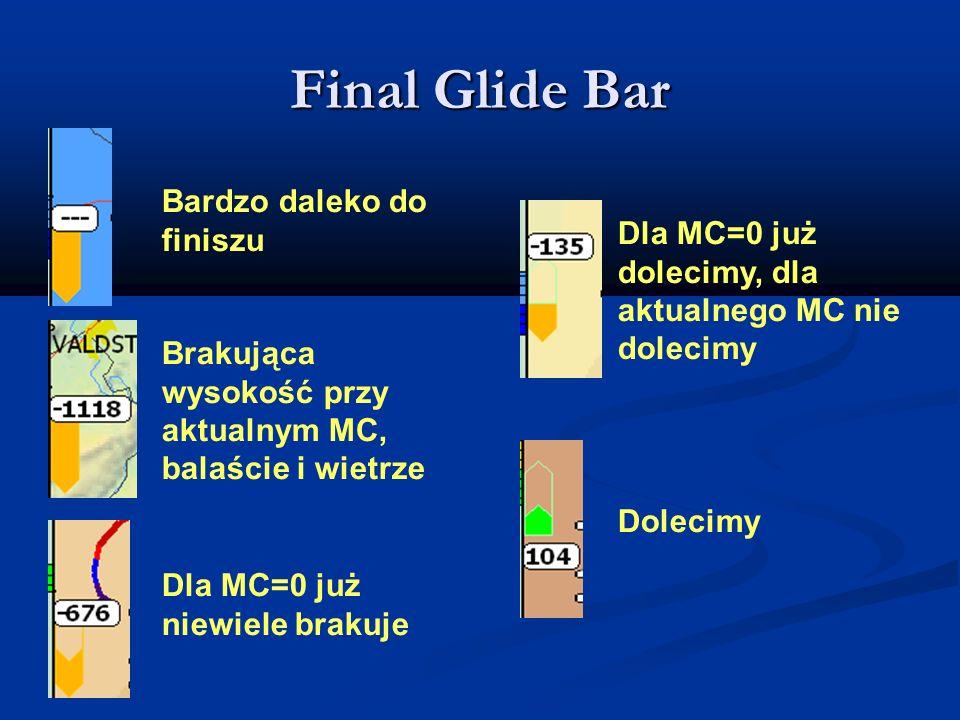 Final Glide Bar Bardzo daleko do finiszu Brakująca wysokość przy aktualnym MC, balaście i wietrze Dla MC=0 już niewiele brakuje Dla MC=0 już dolecimy,