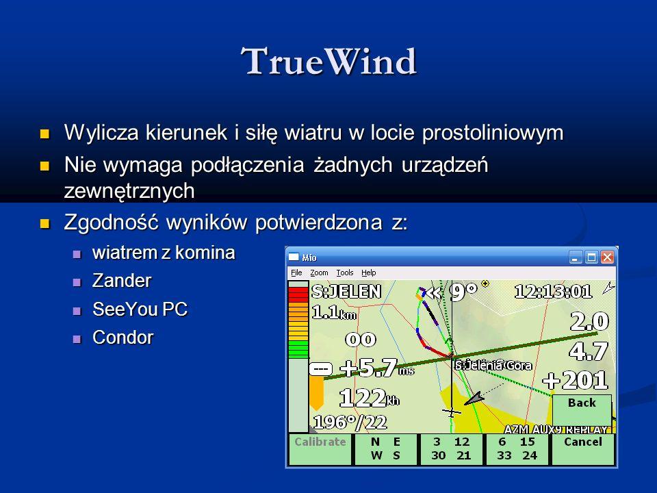 TrueWind Wylicza kierunek i siłę wiatru w locie prostoliniowym Wylicza kierunek i siłę wiatru w locie prostoliniowym Nie wymaga podłączenia żadnych ur