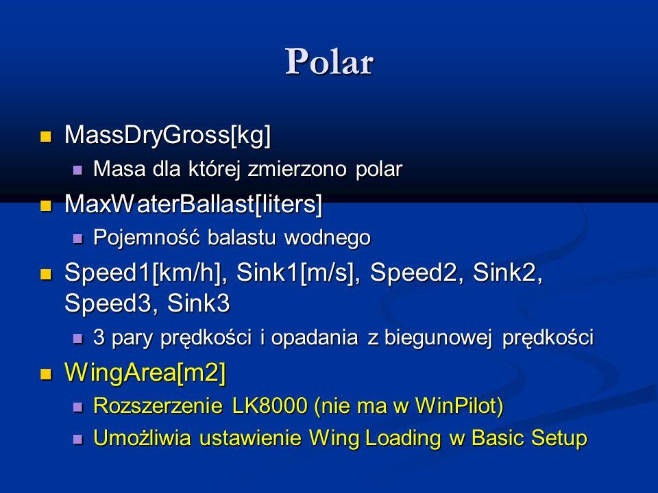 Polar MassDryGross[kg] MassDryGross[kg] Masa dla której zmierzono polar Masa dla której zmierzono polar MaxWaterBallast[liters] MaxWaterBallast[liters