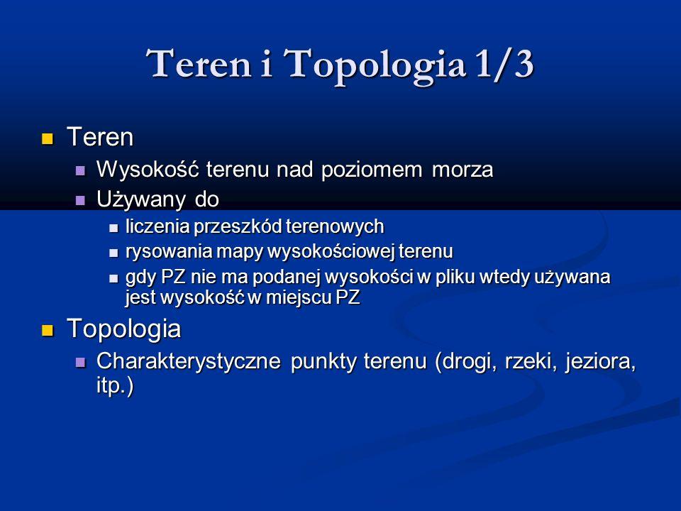Teren i Topologia 1/3 Teren Teren Wysokość terenu nad poziomem morza Wysokość terenu nad poziomem morza Używany do Używany do liczenia przeszkód teren