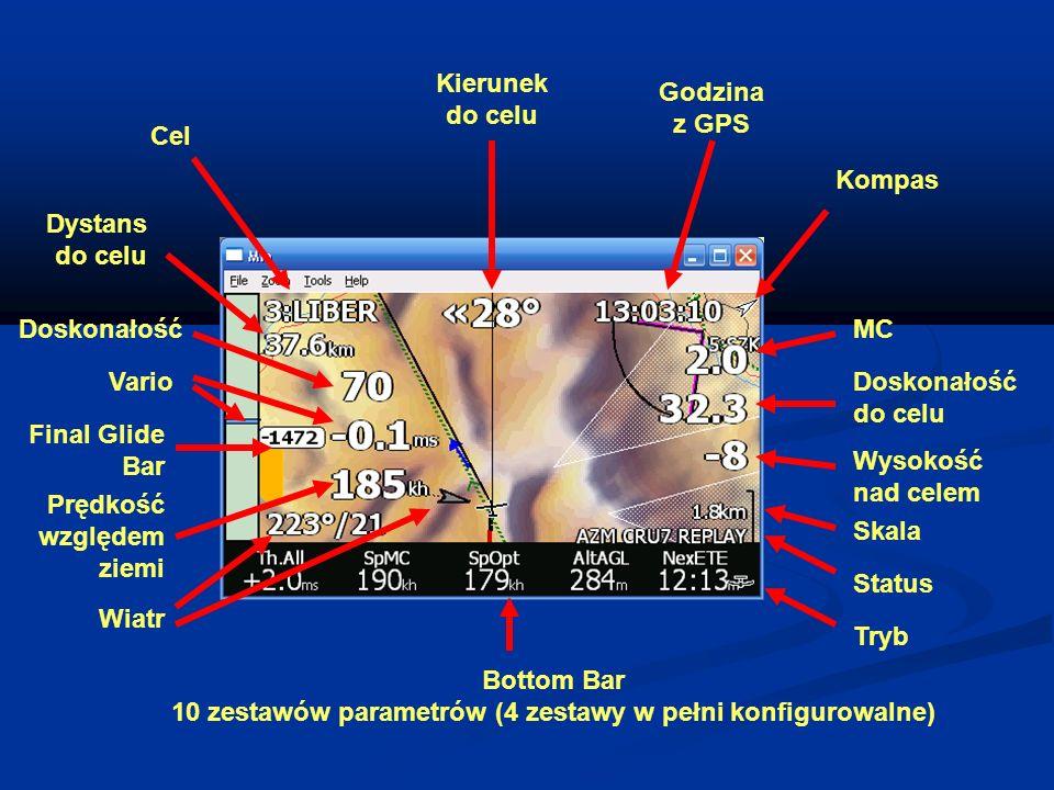 Cel Dystans do celu Kierunek do celu Godzina z GPS Kompas MC Doskonałość do celu Wysokość nad celem Skala Status Bottom Bar 10 zestawów parametrów (4