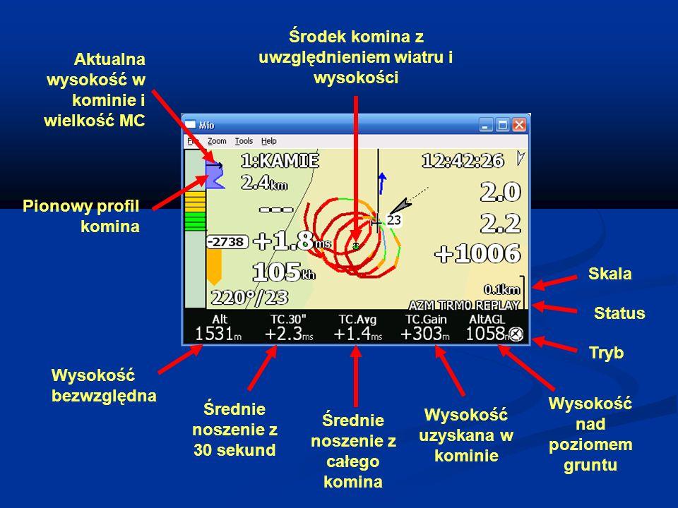 Pionowy profil komina Środek komina z uwzględnieniem wiatru i wysokości Skala Status Tryb Aktualna wysokość w kominie i wielkość MC Wysokość bezwzględ