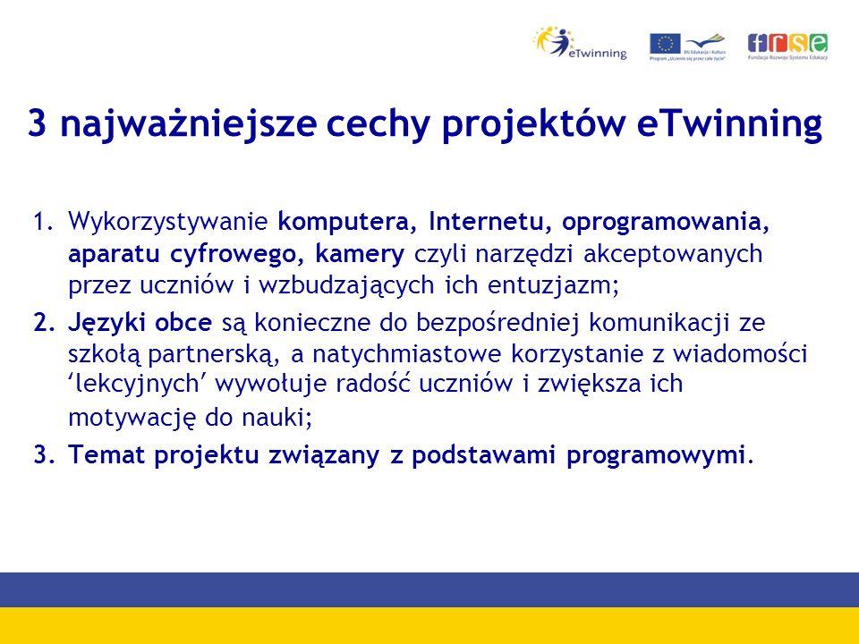 eTwinning w liczbach Polska 9 502 zarejestrowane szkoły 13 479 zarejestrowani nauczyciele 2 041 aktywne projekty 4 938 zamknięte projekty Europa (33 kraje) 93 565 zarejestrowane szkoły 132 248 zarejestrowani nauczyciele 5 299 aktywne projekty 46 884 zamknięte projekty